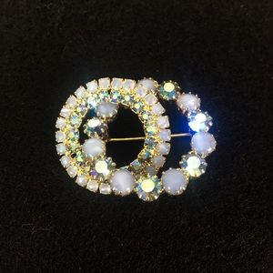 Double Circle Ice Blue Intertwined Pin Brooch